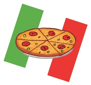 Pizza Clipart Image   The Flag Of Italy Behind A Pepperoni Pizza Pie