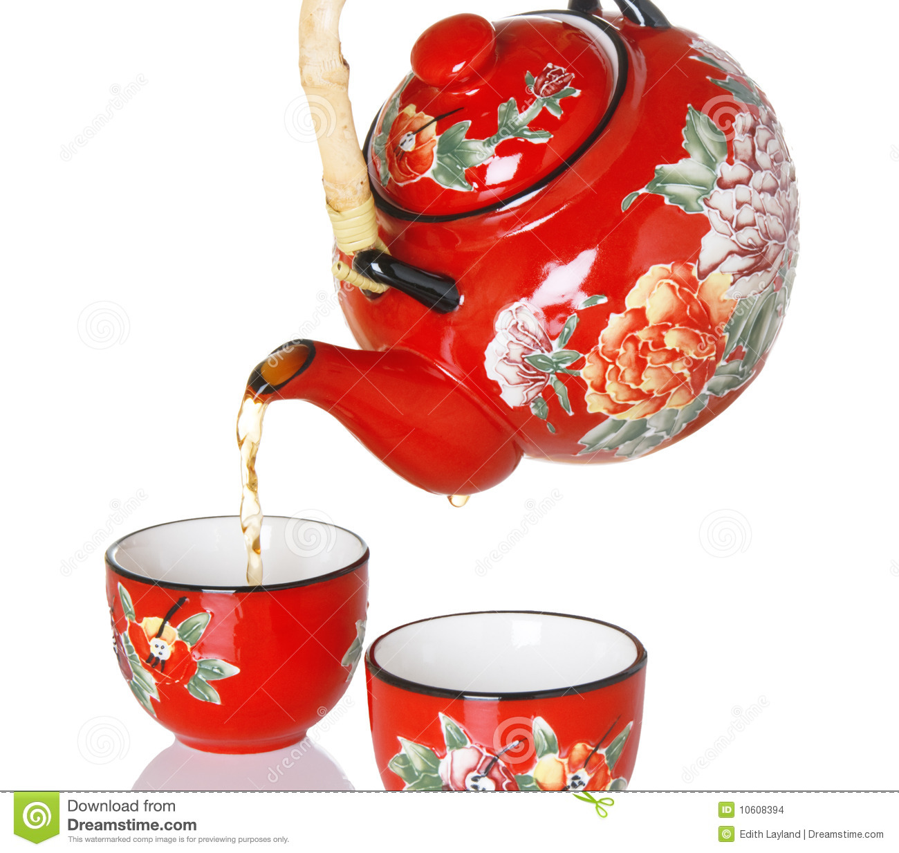 Pouring Tea From Red Teapot Stock Images   Image  10608394