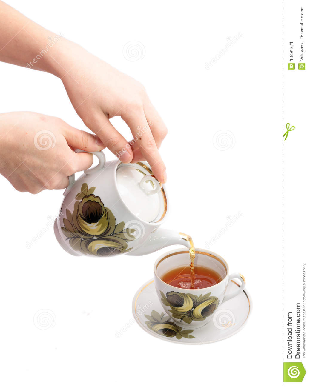 Pouring Tea Stock Image   Image  13491271