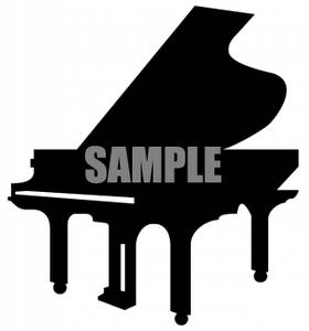 Silhouette Of A Grand Piano   Royalty Free Clipart Picture