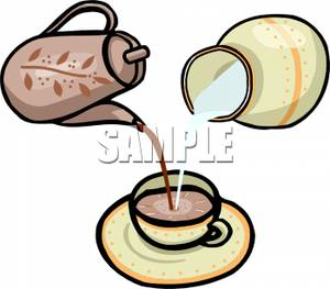 Tea And Milk Pouring Into A Teacup   Royalty Free Clipart Picture