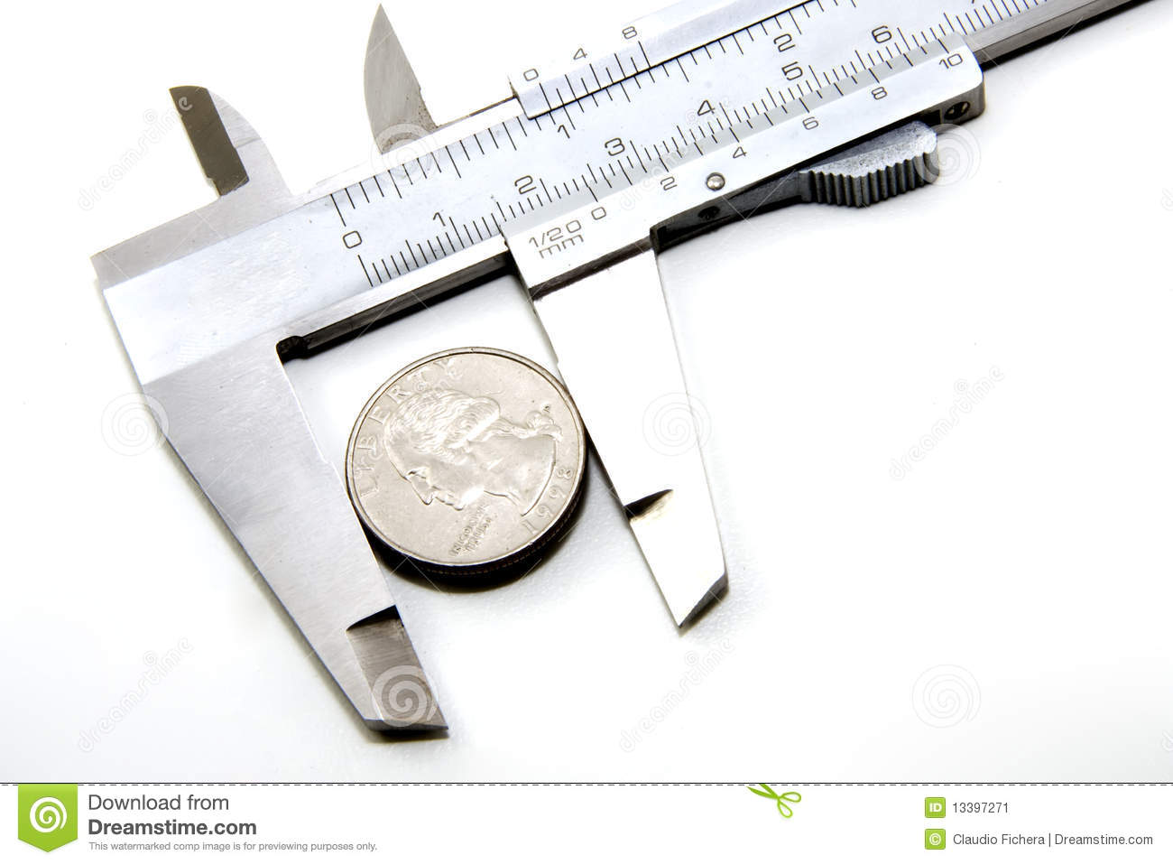 25 Cents In A Caliper  The Concept Of The Value Of 25 Cents