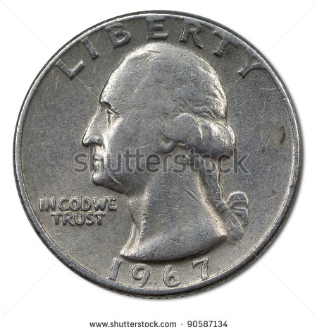 Back Side Of American 25 Cents Coin Stock Photo 90587134