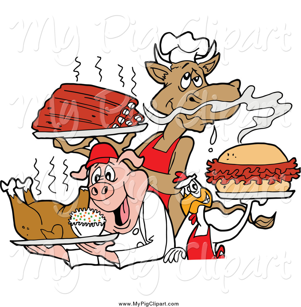 Bbq Cow Holding Ribs Chicken Carrying A Pulled Pork Sandwich And Pig