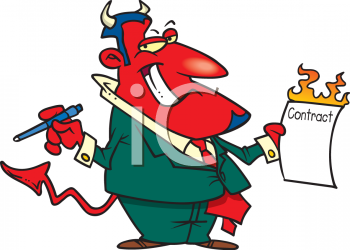 Cartoon Devil Holding A Contract And A Pen   Royalty Free Clipart