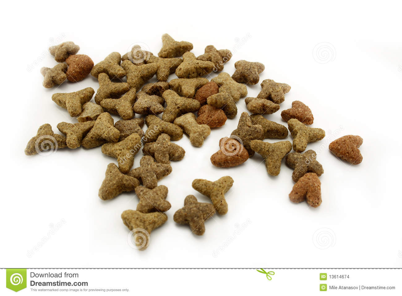 Close Up Image Of Dry Cat Food Isolated On White Background