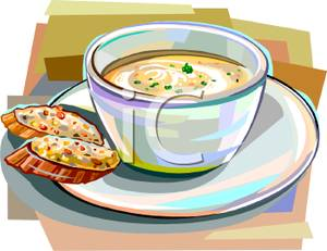 Cup Of Soup With Bread   Royalty Free Clipart Picture