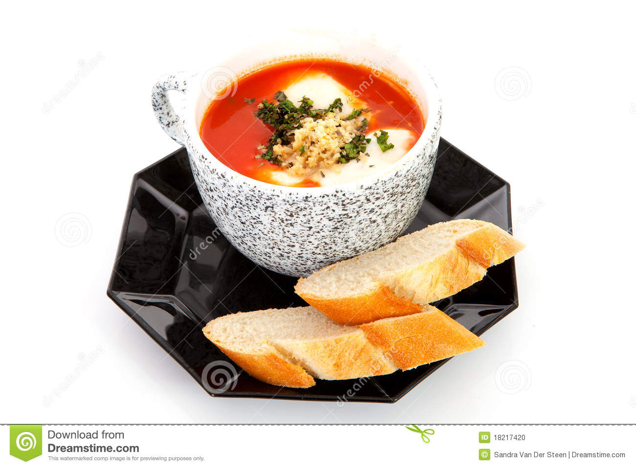 Cup With Tomato Soup And Bread Stock Photo   Image  18217420