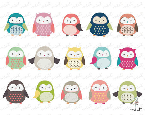 Cute Owl Clip Art 15 Digital Clipart Set For By Memomint On Etsy   We