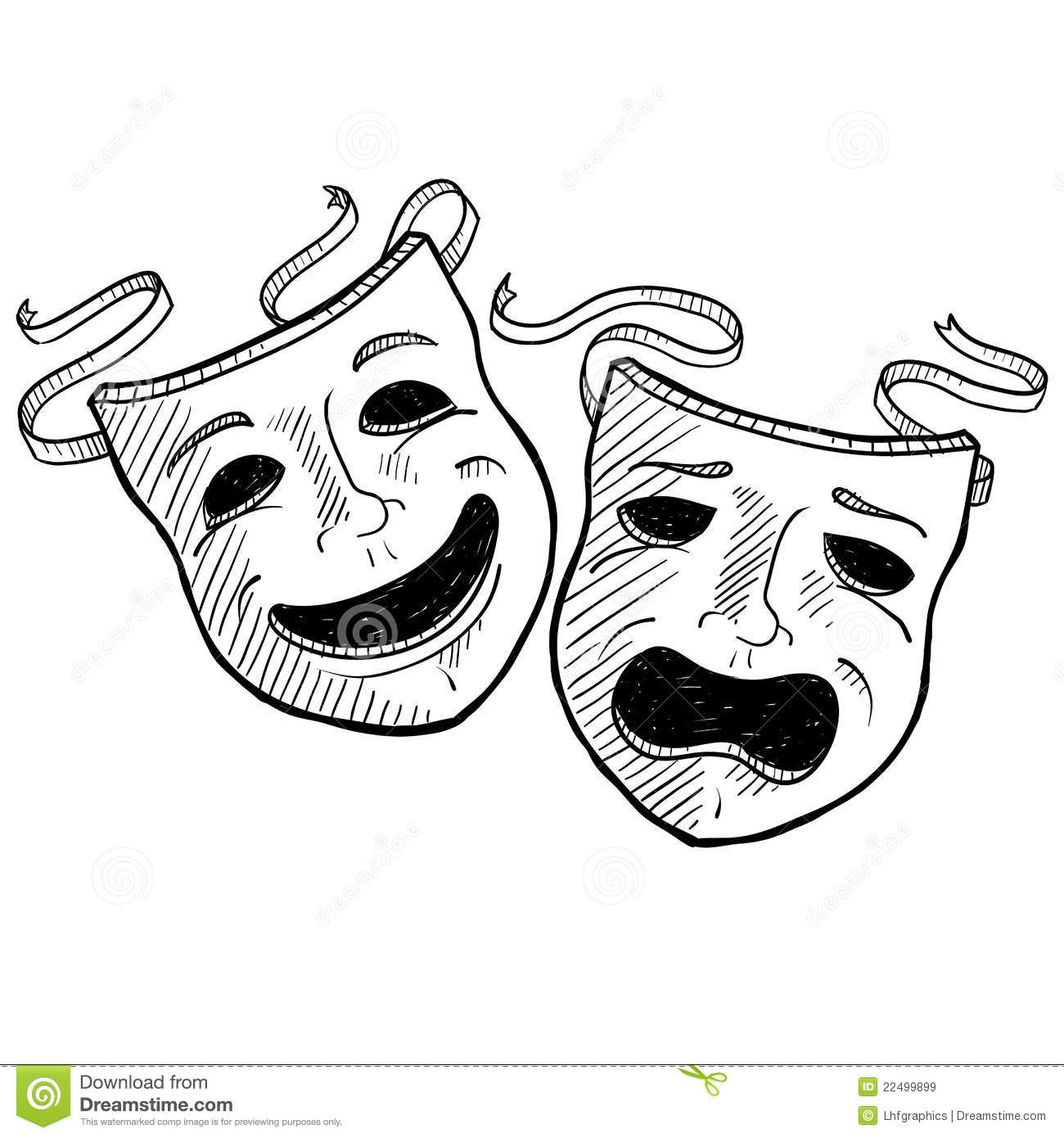 Doodle Style Drama Or Theater Masks Illustration In Vector Format