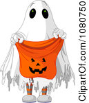 Ghost Costume Holding Out A Candy Bag Royalty Free Vector Illustration