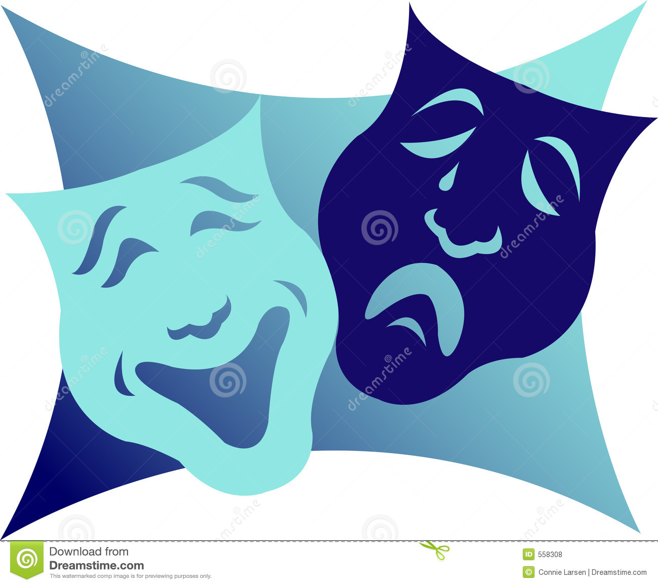 Illustration Of Comedy And Tragedy Masks Which Are A Symbol For The