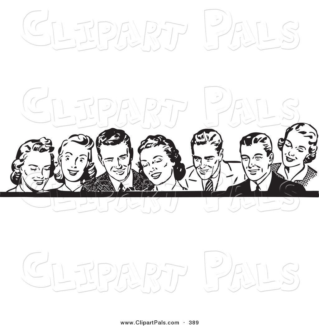 Pal Clipart Of A Border Of Retro Laughing Men And Women In Black And