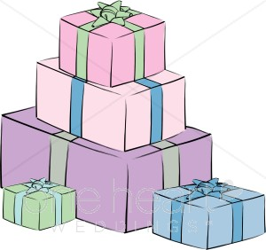Pastel Presents Clipart   Wedding Gift Clipart