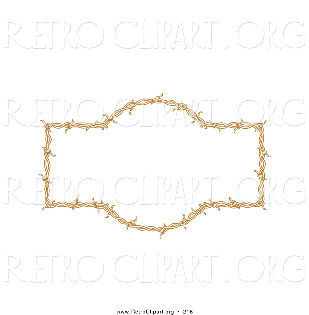 Retro Clipart Of A Brown Border Frame Of Barbed Wire Over A Solid
