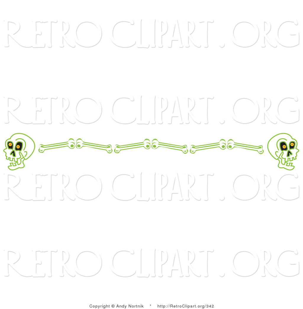 Retro Clipart Of A Halloweeny Border Of Human Skulls And Bones Clipart