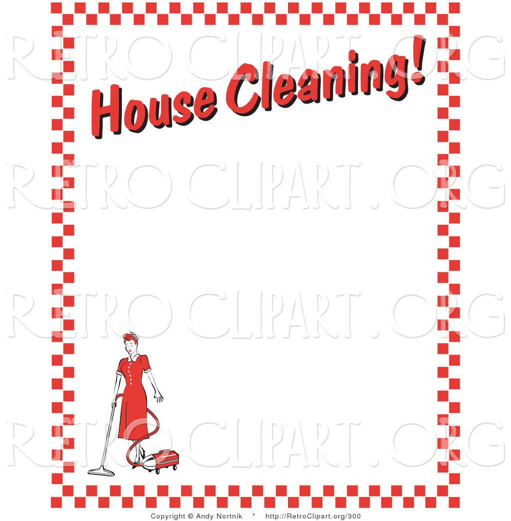 Retro Clipart Of A Maid Woman Vacuuming With A Canister Vacuum With
