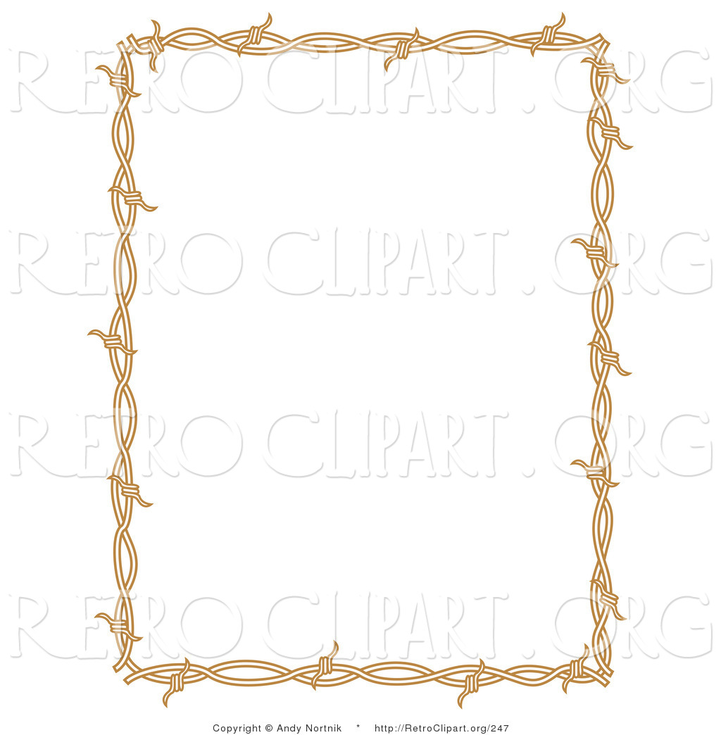 Retro Clipart Of A Rectangle Border Frame Of Barbed Wire Over A Solid