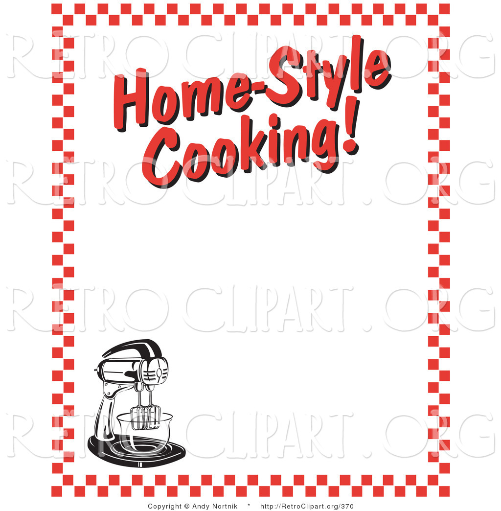 Retro Clipart Of A Stand Mixer And Text Reading Home Style Cooking