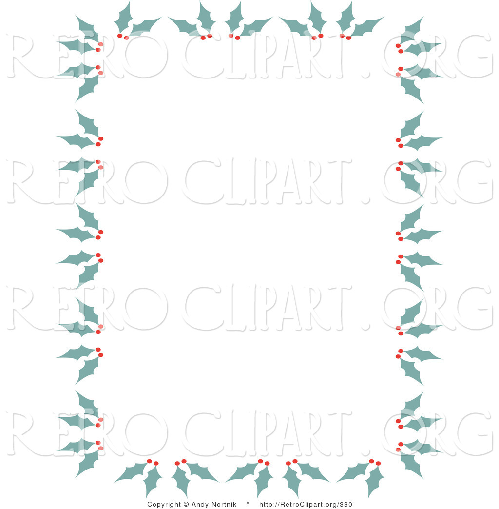 Retro Clipart Of A Stationery Border Of Holly And Berries For