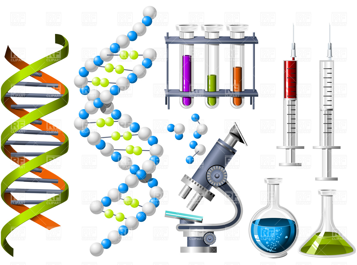 Science And Genetics Icons   Dna Strand And Laboratory Equipment 4757