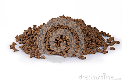 Shot Of A Pile Of Dry Cat Food Isolated Over White