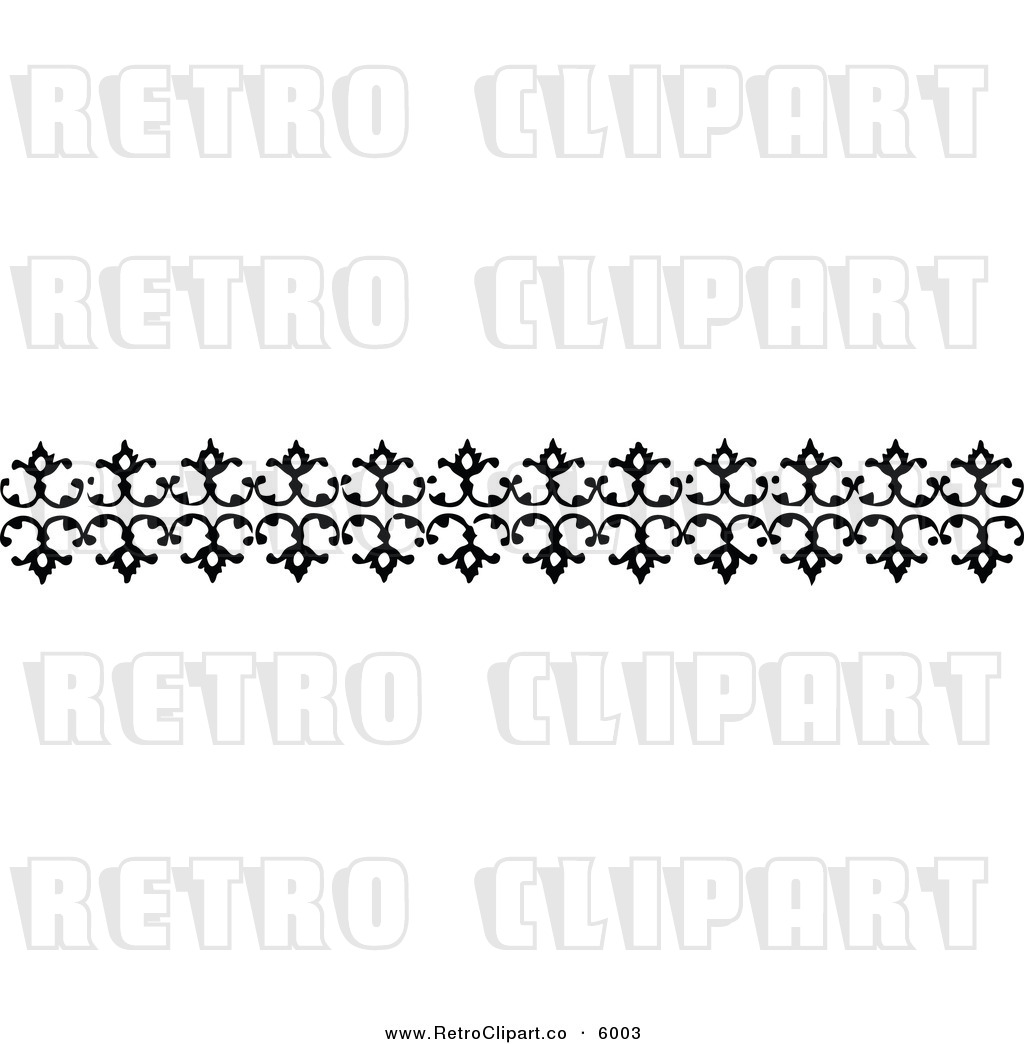 Vector Clipart Of A Retro Black And White Decorative Border Design