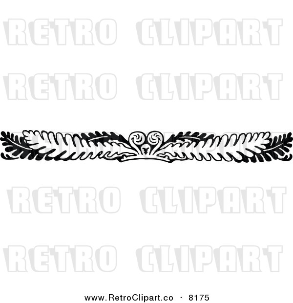 Vector Clipart Of A Retro Black And White Fern Leaf And Frond Border