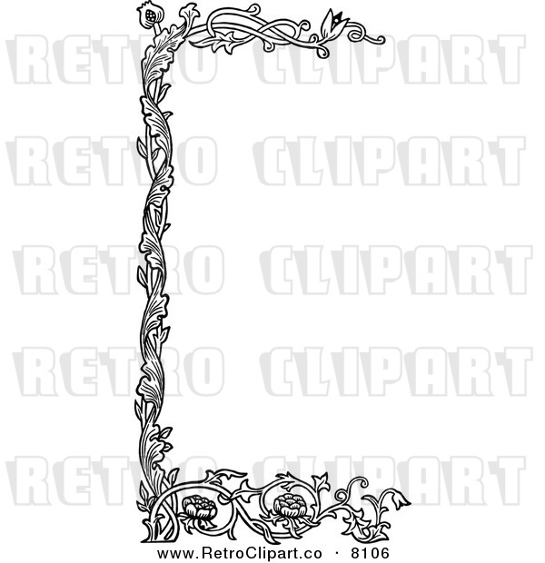 Vector Clipart Of A Retro Black And White Floral Page Border By Prawny