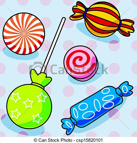 Vector Clipart Of Seamless Candy Pattern   Fun Seamless Candy Pattern