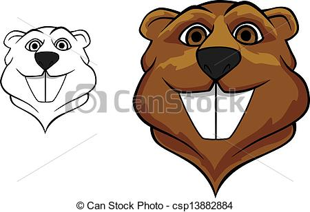 Vector Of Beaver Mascot   Beaver Head In Cartoon Style For Sport Team