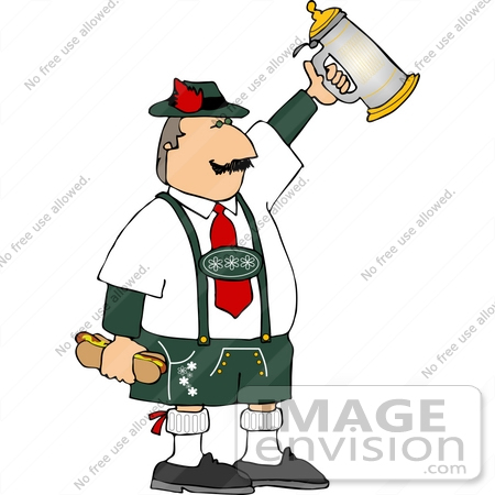 14548 German Man Holding A Sausage In A Bun And A Beer Stein Clipart