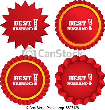 Best Husband Ever Sign Icon  Award Symbol  Exclamation Mark  Red Stars
