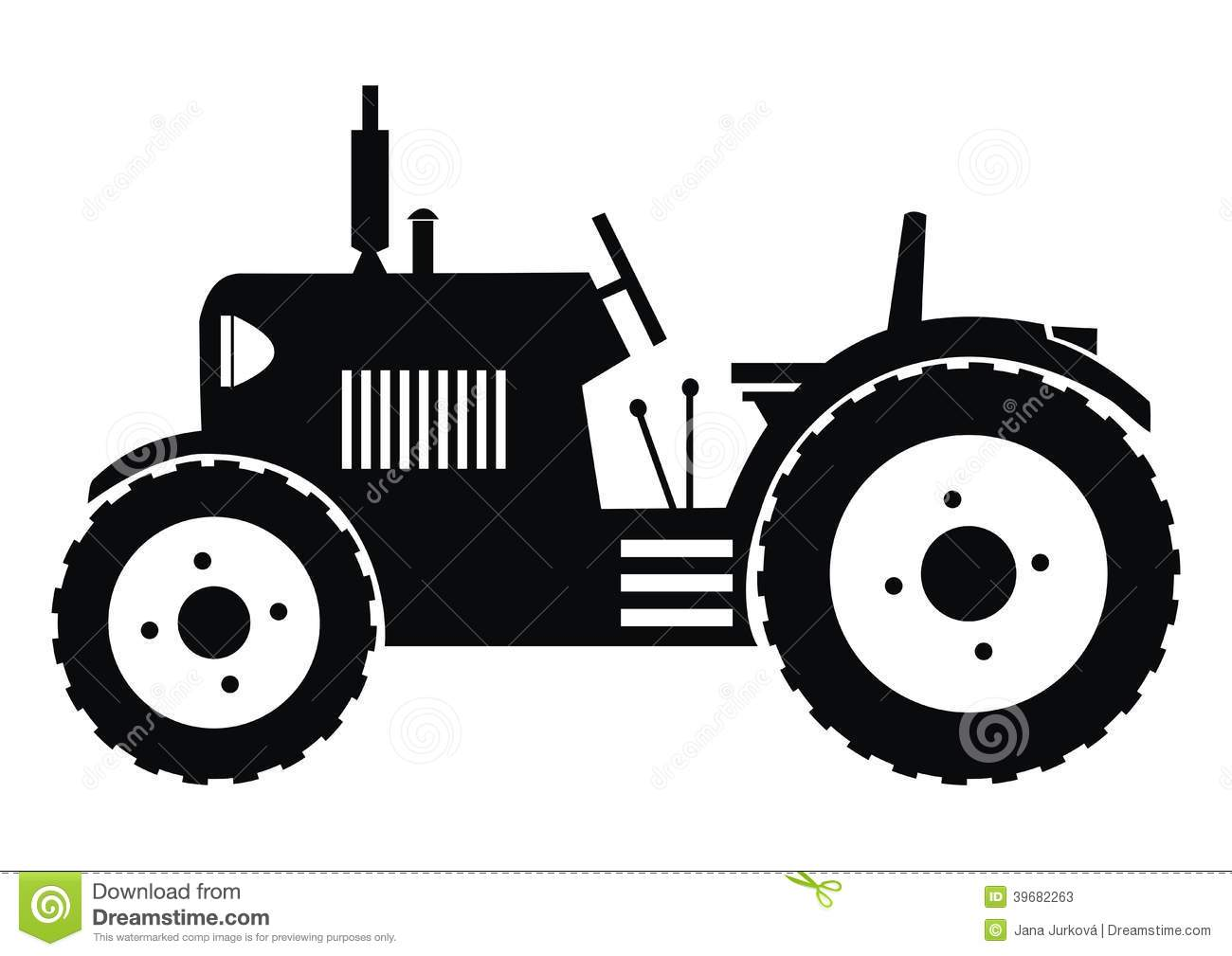Black Silhouette Of A Tractor On A White Background