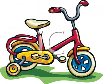 Clip Art Picture Of A Bicycle With Training Wheels