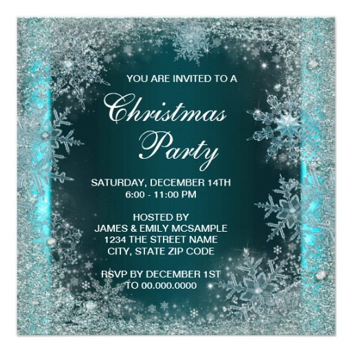 Elegant Teal Blue Snowflake Christmas Party 5 25 Square Invitation