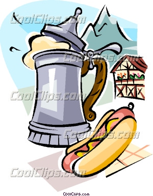 German Beer And Wurst Sausage Vector Clip Art