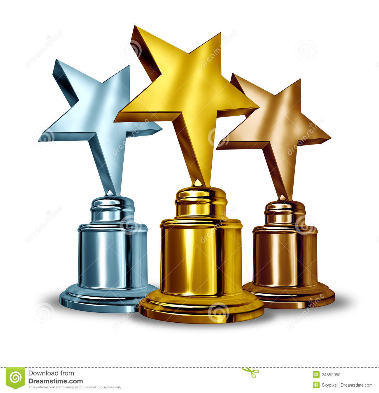 Gold Silver And Bronze Star Trophies And Trophy Award As The Best
