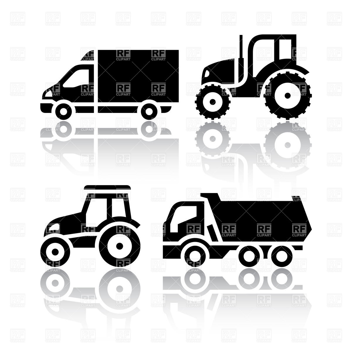 Icons   Tractor And Tipper Download Royalty Free Vector Clipart  Eps