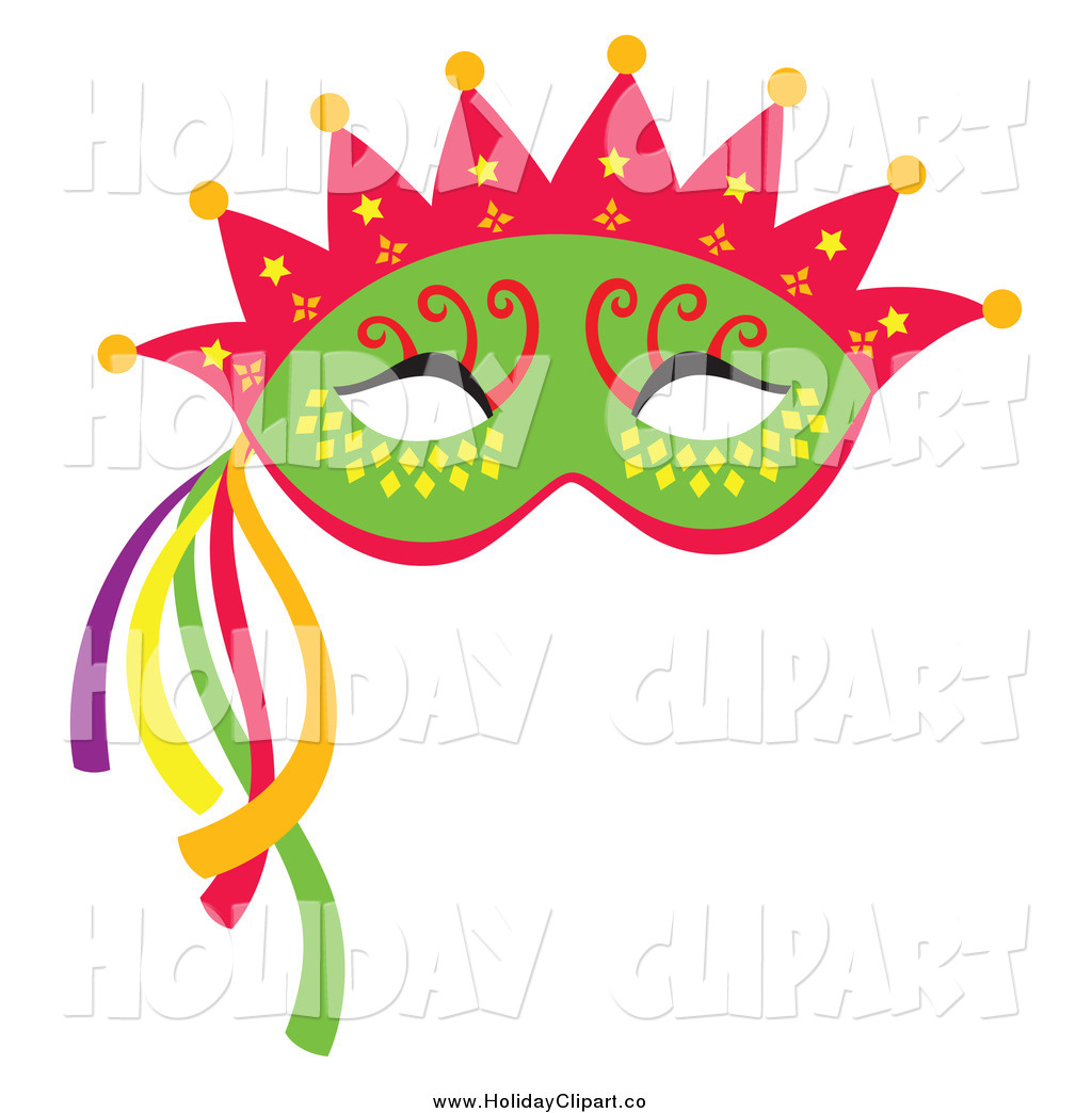 Larger Preview  Holiday Vector Clip Art Of A Green Mardi Gras Face