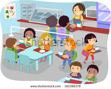 Of Kids In A Canteen Buying And Eating Lunch   Stock Vector