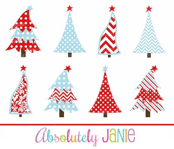 Red Blue Christmas Tree Clipart   Whimsical Holiday Digital Clip Art