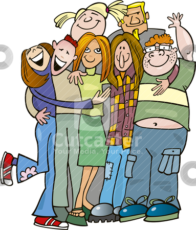 School Teens Group Giving A Hug Stock Vector Clipart Illustration Of