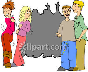 Teens At Their First Dance   Royalty Free Clipart Picture