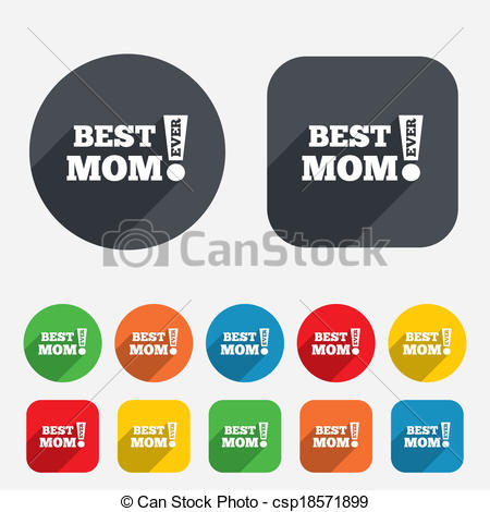 Vector   Best Mom Ever Sign Icon  Award Symbol    Stock Illustration