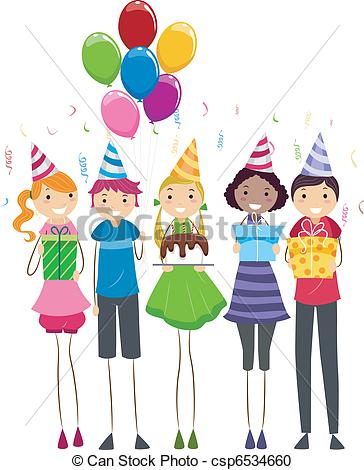 Vector Clipart Of Birthday Present   Illustration Of A Group Of Teens