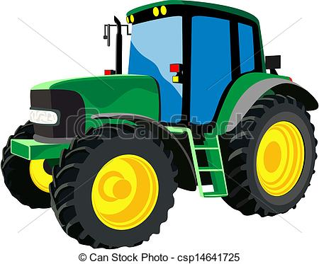 Vector   Green Agricultural Tractor   Stock Illustration Royalty Free