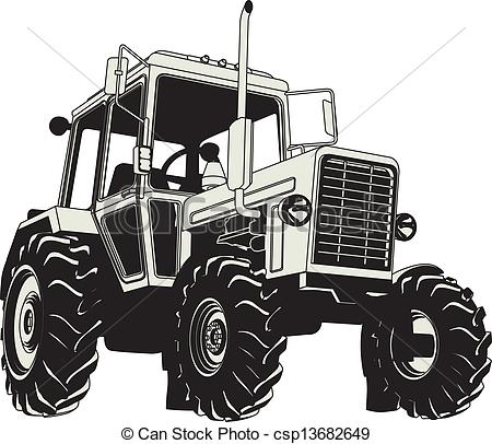 Vector   Vector Agricultural Tractor Silhouette   Stock Illustration