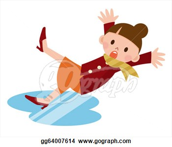 Woman Slips And Falls Down On Snowy Road  Clipart Drawing Gg64007614