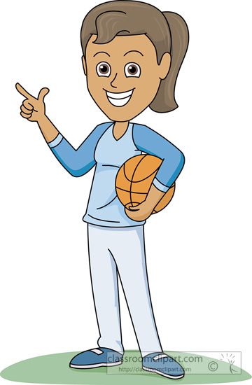 Basketball Clipart   Girl With Basketball Pointing   Classroom Clipart